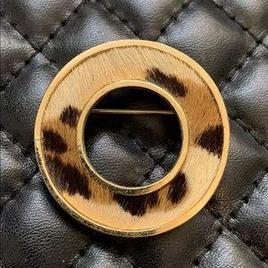 Vintage 90s Runway Gold Leopard Fur Circle Brooch